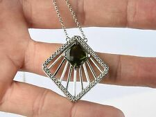 MOLDAVITE  square faceted + zircons SILVER.925 necklace - 9.3g - AGPEND1389
