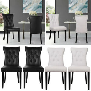 2x/4x Modern Dinning Chairs Armless PU Leather Padded Room Seats Cafe Club Chair