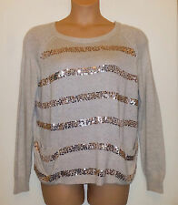 NEXT BEIGE LUXURY FIBRES WITH ANGORA SEQUINNED OVERSIZED JUMPER w POCKETS 12