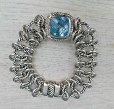 "David Yurman Albion Atlas Blue Topaz Diamond & Sterling Silver Bracelet 7"" Vtg."