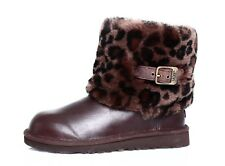 UGG Australia Elle Animal Print Cuff Leather Boot Brown Youth Sz 4 4177 *