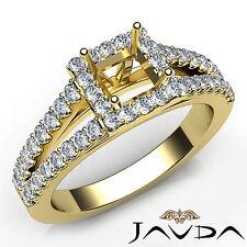 Diamond Princess Semi Mount 14k Yellow Gold Halo Prong Set Wedding Ring 0.75Ct