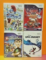 Nintendo Wii & Wii U Disney Game Lot Cars Mater's Epic Mickey Smurfs 2 Robinsons