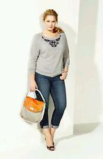 NORDSTROM Halogen Sweater P L 100% Cashmere NWT HEATHER GRAY EMBELLISHED