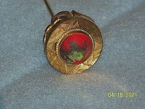 Antique Stone & Gold Plated Hat Pin Stick Pin