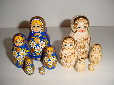 Lot 2 Sets Russian Matryoshka Nesting Dolls Gold Accents - 1 Natural Wood 1 Blue