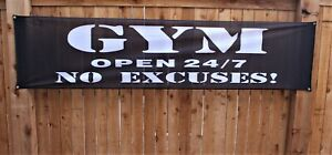 New Gym Open 24/7 No Excuses Banner Black Flag Shop Sign 2x8 Outdoor Vinyl Mesh