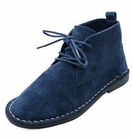 BOYS KIDS NAVY DESERT DEALER LACE-UP SMART CASUAL ANKLE BOOTS SHOES SIZES 6-6
