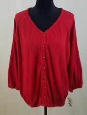 Style & Co women XL red ribbed sail on 3/4 sleeve shirt blouse
