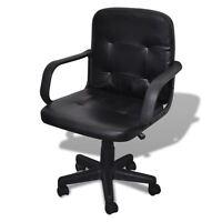 Leather Ergonomic Mid Back Executive Computer Desk Task Office Chair Black