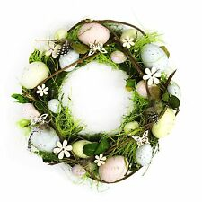 Rustic Handmade Easter Nest Wreath Hanging Decoration Eggs, Grass & Flowers