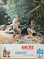PUBLICITÉ DE PRESSE 1961 ANCRE BIÈRE BRASSÉE D'ALSACE A LA PÊCHE