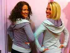Lululemon Aura Jacket Hoodie Gray & Pink Reversible Stripe w/ Ruched Sleeves 6