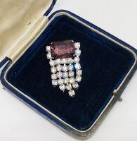 1980s Vintage Brooch Collar Pin Silver Tone Diamante Amethyst Glass Sparkly Bold