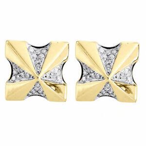 Diamond Earrings 10K Yellow Gold Mens Round Cut Square Studs Screw-Back 0.22 Tcw