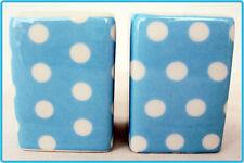 Bebé/Azul Claro Puntos Salt & Pepper SET Vinagrera Set Decoración Azul Cuadrado De Porcelana Reino Unido