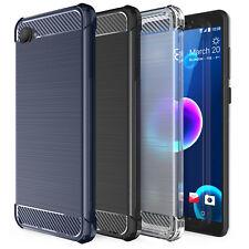 HTC Desire 12/12 Plus TPU silicona Gel de fibra de carbono Estuche Cubierta De Protección UK