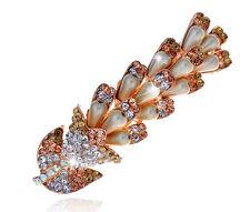 Champagne Rainbow Pearls Rhinestones Flower Hair Barrette Accessories HA160