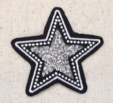 Crushed Crystals - Star - Black/Silver - Iron on Applique/Embroidered Patch