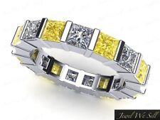 Natural 3.40Ct Yellow Diamond Bar Wedding Eternity Band Ring 10k Gold I2 Gh I1