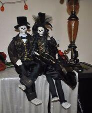 NEW WITCH SKELETON BRIDE GROOM  WEDDING Doll Halloween TUXEDO GOWN SPIDER