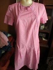 sz 6 True Vtg 60s Mod Hip Hugger Pink Plaid Ultra Thin Country Dress