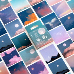 46 Cloud & Moon Sky Photo Mini Box Stickers - Journalling Collage Paper Sticker