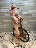 ENESCO Vintage 1984 Circus Clown on Unicycle Bike Porcelain Figurine