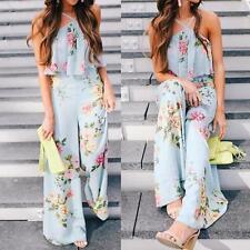 Womens Strap Floral Sleeveless Jumpsuit Wide Leg Pants Playsuit Romper Trousers Light Blue S