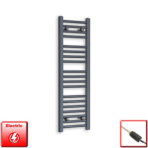 300mm Wide 1000mm High Flat Anthracite Pre-Filled Electric Towel Rail Radiator