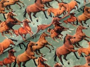 Baumwolljersey Digital Pferde Herde Olivegrün Horse Stoff Jersey Meterware