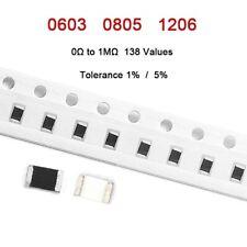 100Pcs 0603/0805/1206 SMD Chip Resistors Tolerance 1% / 5% Values of 0Ω to 1MΩ