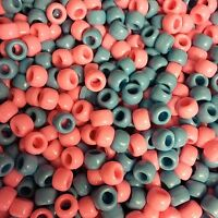 100 x Baby Mix (Blue & Pink) Opaque Barrel Shape Pony Beads 9x6mm