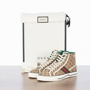 GUCCI 690$ Beige Men's Monogram GG Tennis 1977 High Top Sneakers