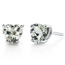 14 kt White Gold Heart Shape 1.50 ct Green Amethyst Earrings