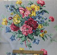 BTY Vintage Beautiful Floral Barkcloth Fabric c. 1940