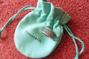 Tiffany & Co. Sterling Silver 925 Retired Mesh Thick band Ring Size 7