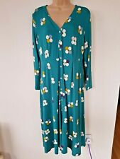 New with Tags WHITE STUFF Elm JERSEY DRESS Stretch Buttons GREEN Spotted RRP £60