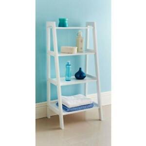 4 Tier Ladder Wooden Shelf Storage Unit Display Bathroom Shelf