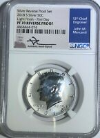 2018 NGC PF70 SILVER REVERSE PROOF KENNEDY HALF MERCANTI SIGNED LIGHT FINISH FDI