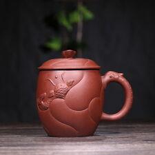 Tasse à thé Yixing Zisha en argile pourpre dragon et carpe avec couvercle 350ml
