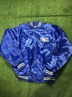 Vintage NSA National Security Agency Blue Hipster 90s Satin Bomber Jacket Large