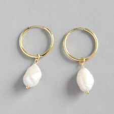 Genuine s925 Sterling Silver Baroque Nature Freshwater Pearl Earring Clip Drop