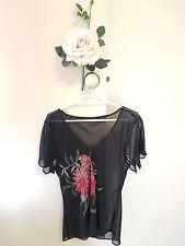 ✿♡ Womens Sheer Shirt Top Size S (Sheer Floral Sequin Black Fairie) ♡✿