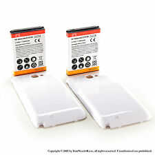 2 x 6500mAh Extended Battery for Samsung Galaxy Note II GT-N7100 White Cover