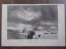 GRAVURE MARINE 1840 ÉCHOUAGE DES CORVETTES ASTROLABE ET ZÉLÉE DETROIT DE TORRES
