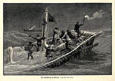 Schiffbruch im Winter Künstlergraphik Holzstich um 1897