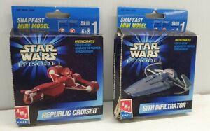 Star Wars episode 1 snapfast mini model AMT Republic cruiser Sith Infiltrator