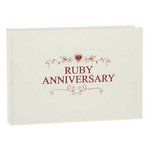 Shudehill Giftware 40th Ruby Wedding Anniversary Photo Album 6 x 4