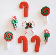 Candy Striped Christmas Buttons / Dress It Up Holiday Collection / Jesse James